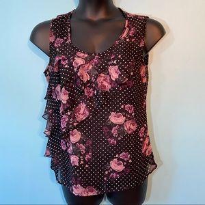 🛍3/$25 Reitmans sheer ruffled blouse